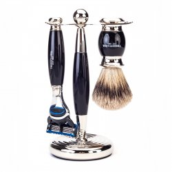 Truefitt  Hill Edwardian Shaving Set - Ebony (Gillette Mach3)